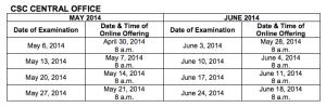comex schedule 2014